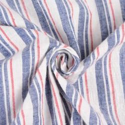 STRIPE BLUE WHITE & RED KHADI FABRIC - HANDSPUN & HANDWOVEN