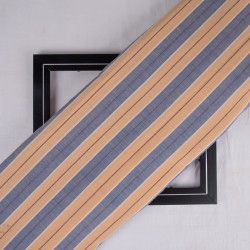 STRIPE ORANGE & BLUE PURE COTTON HANDWOVEN FABRIC