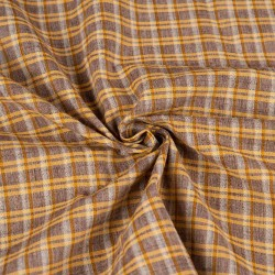 CHECK BROWN COTTON HANDWOVEN FABRIC