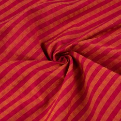 STRIPE YELLOW RED PURE COTTON HANDWOVEN FABRIC